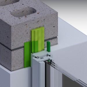 Монтаж в проем с фальшчетвертью; материалы illbruck: лента внутренняя пароизоляционная, пена, лента ПСУЛ.